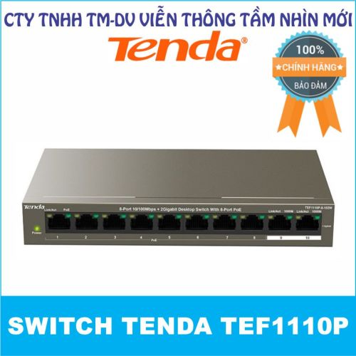 Switch PoE Tenda TEF1110P (10-port với 8 port PoE và 2 port Gigabit 1.0Gbps)